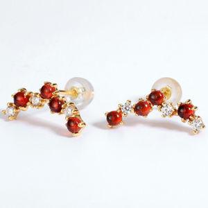 Lovely Garnet Stud Earrings Silver Post Yellow